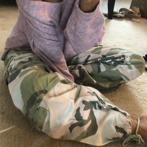 camouflage print cargo jogger pants
